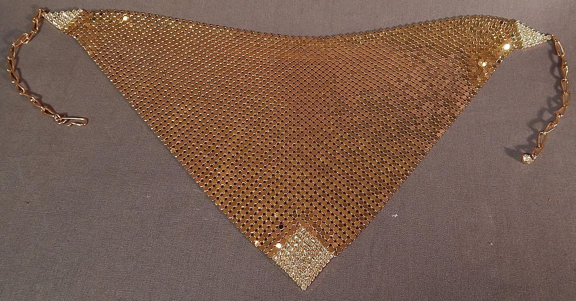 Vintage Whiting & Davis Gold Metal Mesh Rhinestone Bib Necklace Scarf Collar