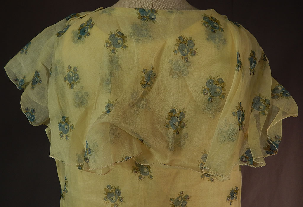 Vintage Girls Yellow Organdy Blue Floral Print Capelet Drop Waist Dress & Slip
