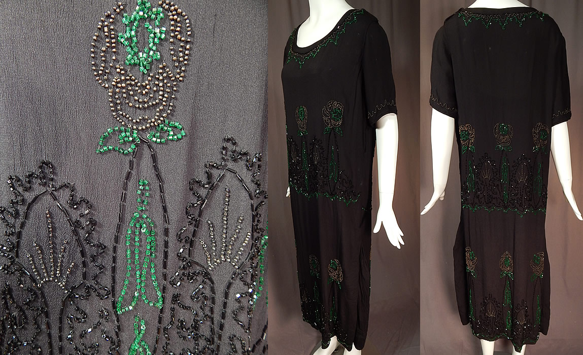 Vintage Art Deco Black Silk Crepe Emerald Green Beaded Floral Flapper Dress