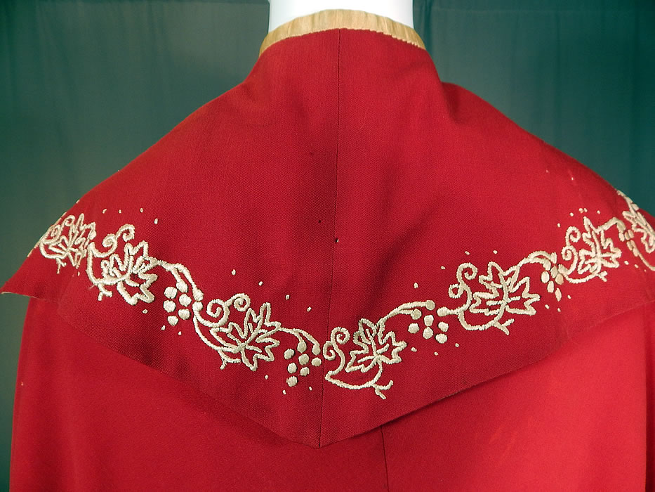 Victorian Red Wool White Embroidered Grape Vine Leaf Winter Cloak Cape