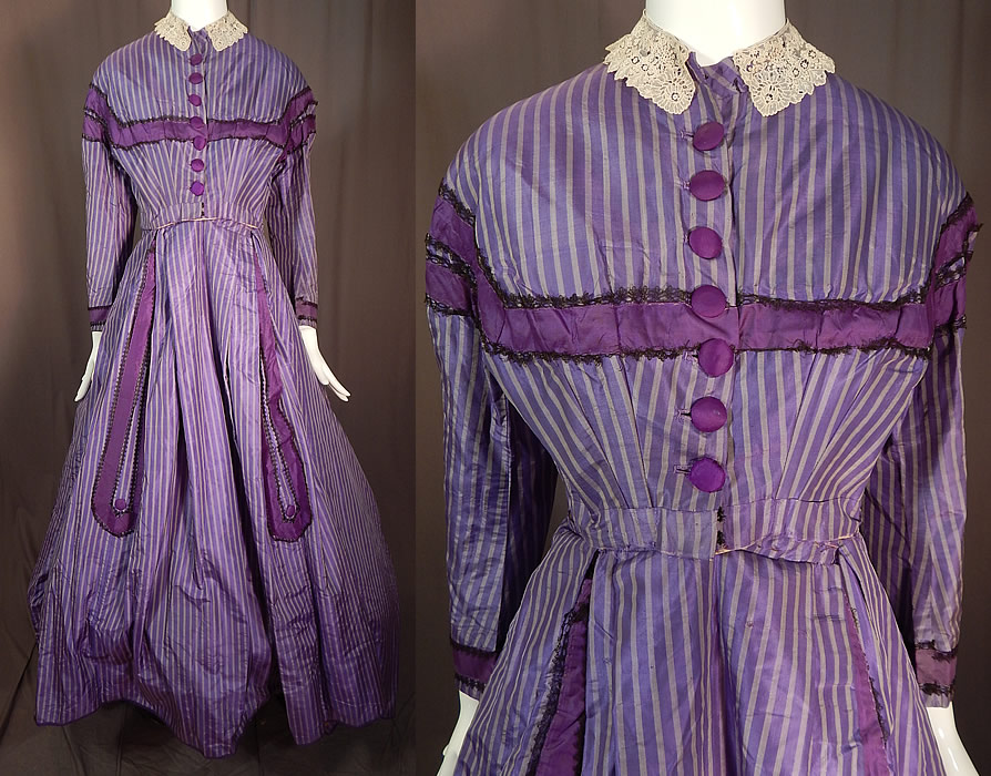 Victorian Civil War Era Purple Lavender Stripe Silk Hoop Skirt Train Ball Gown Dress
