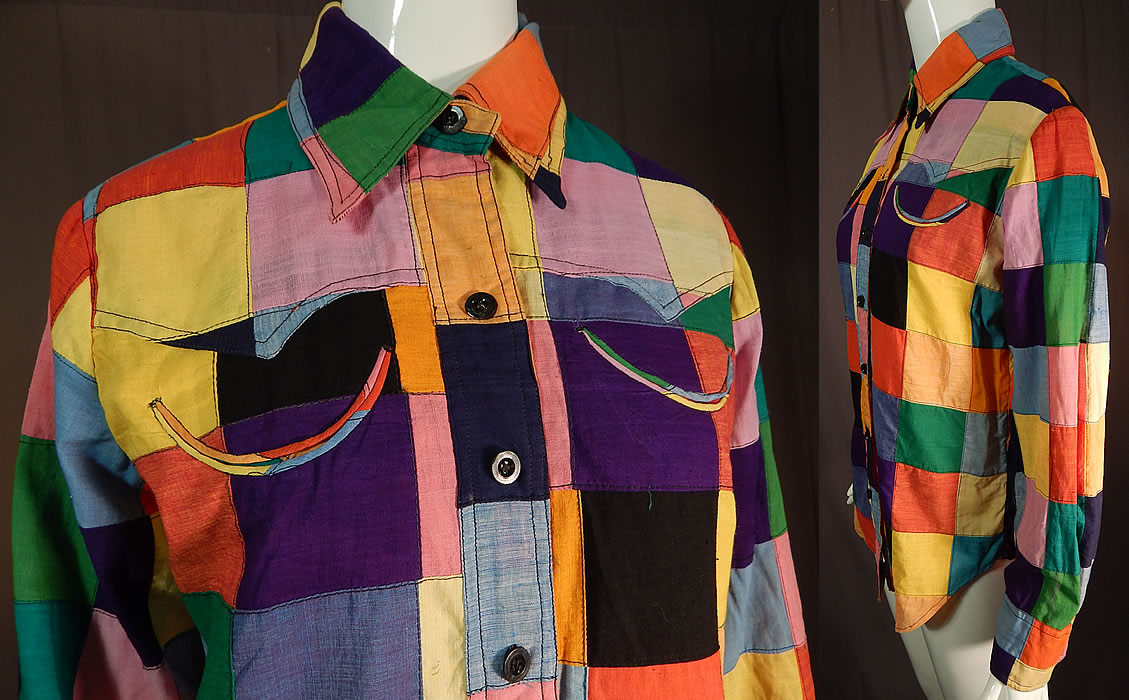 Vintage Like Me Authentic Hand Woven India Madras Patchwork Womens Shirt Blouse