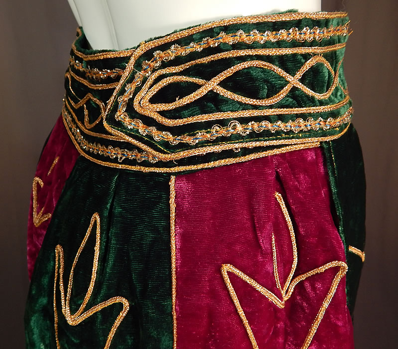 Vintage Indian Purple & Green Gold Embroidered Velvet Patchwork Maxi Skirt