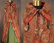 VVictorian Civil War Era Victorian Antique Wool Signed Kashmir Paisley Shawl Collar Cloak Cape