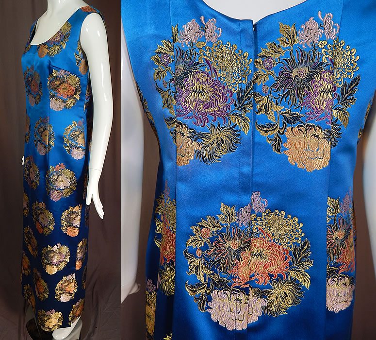 Vintage Blue Silk Chinese Chrysanthemum Brocade Sheath Dress Evening Gown