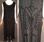 Vintage Art Deco Black Silk Beaded Butterfly Fringed Flapper Dress Evening Gown