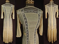 Victorian Yellow Cream Cotton Batiste White Lace Lawn Dress Tea Gown
