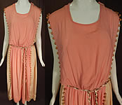 Vintage Grecian Goddess Pink Silk Crepe Wood Beaded Belted Tabard Tunic Dress