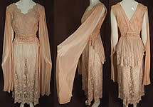 Vintage Pink Net Tambour Embroidery Lace Dress Kimono Sleeve Blouse & Skirt