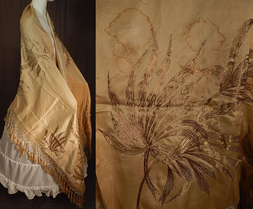Vintage Art Nouveau Silk Silver Gold Lamé Embroidered Piano Shawl Scarf Stole Wrap