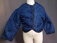 Victorian Antique Chinese Blue Silk Damask Quilted Boys Child Coat Jacket