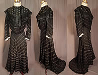Victorian Black Mesh Net Silk Ribbon Stripe Gown Bodice Skirt Train Dress