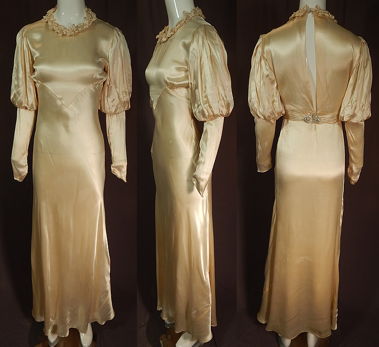 Vintage 1930s Cream Silk Charmeuse Mutton Sleeve Bias Cut