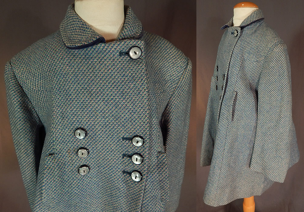Vintage Girls English Blue Pink Tweed Wool Double Breasted Childs Swing Coat