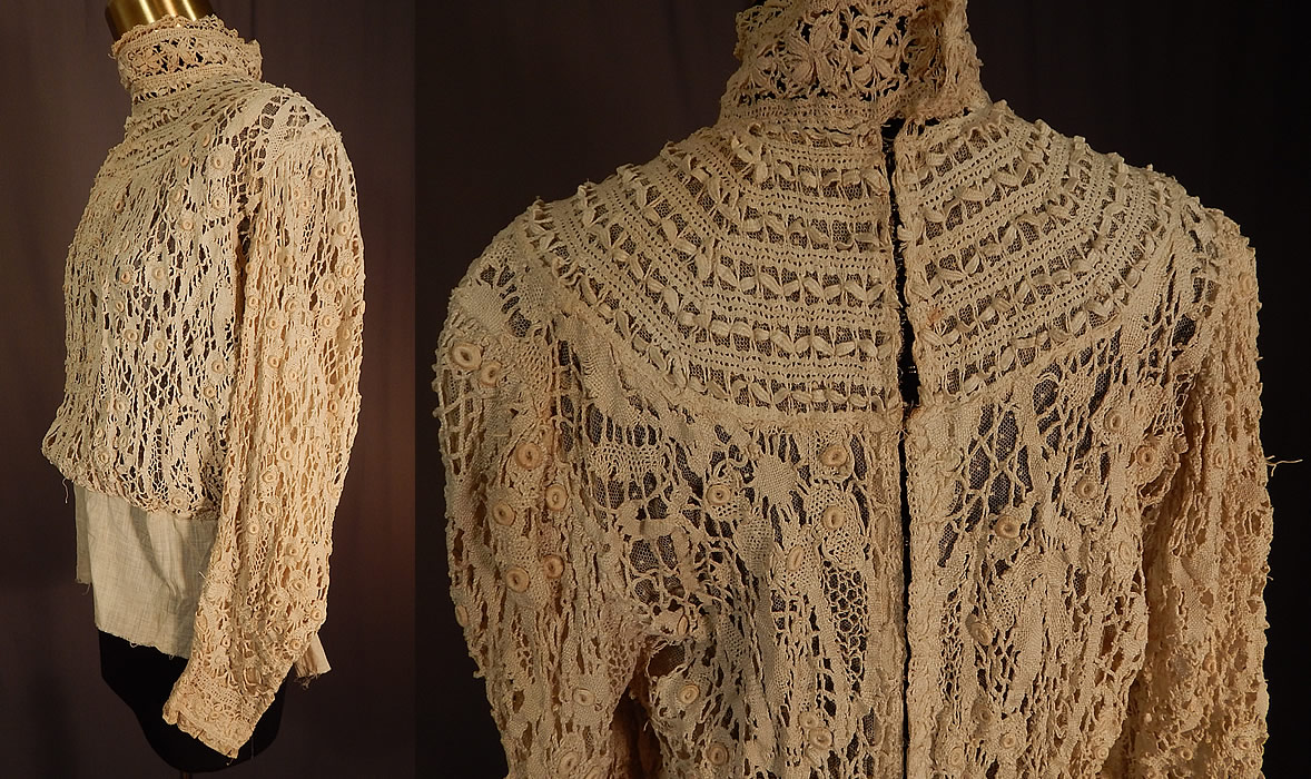 Edwardian Antique Cream Cluny Bobbin Lace Peplum Blouse Shirt Top