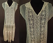 Vintage Cream Tambour Embroidery Lace Net Drop Waist Chemise Shift Dress