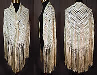 Vintage White Boho Macrame Crochet Silk Ribbon Fringe Flapper Wedding Shawl