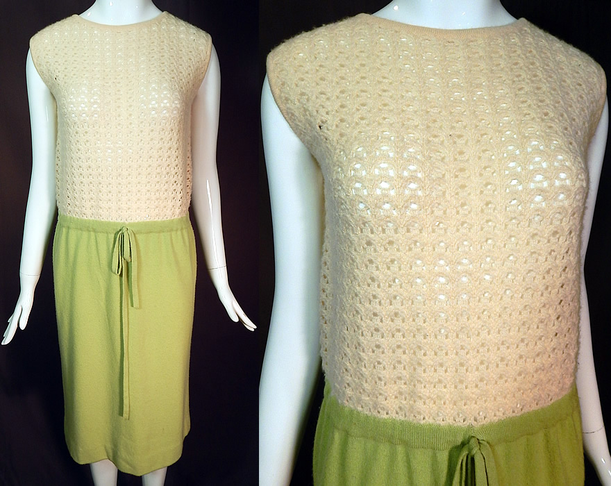 Vintage Pringle Scotland Cashmere Crochet Knit Sweater Shift Dress Pencil Skirt