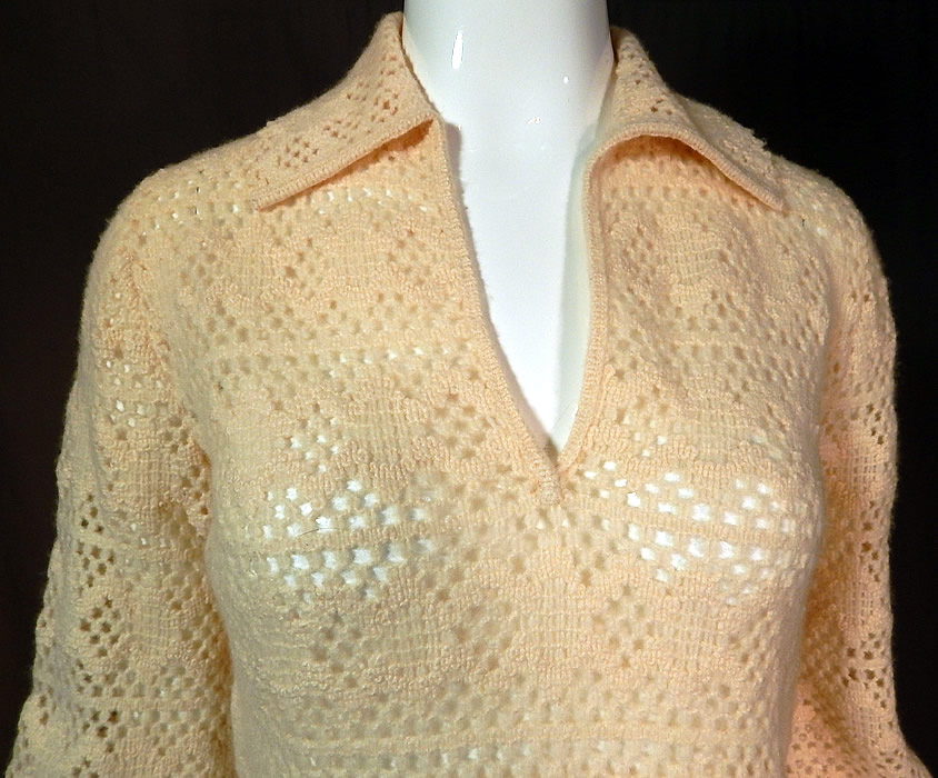 Vintage Dalton Virgin Cashmere Crochet Knit Pullover Sweater Balloon Sleeve Top