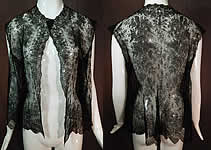 Victorian Antique Black Chantilly Lace Shawl Sleeveless Vest Jacket Blouse