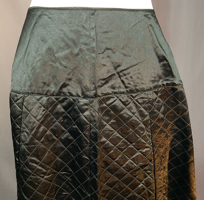 Victorian Antique Black Silk Quilted Wool Winter Petticoat Skirt