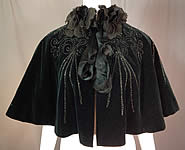 Victorian Midnight Blue Velvet Jet Beaded Lace Trim Cloak Cape Capelet