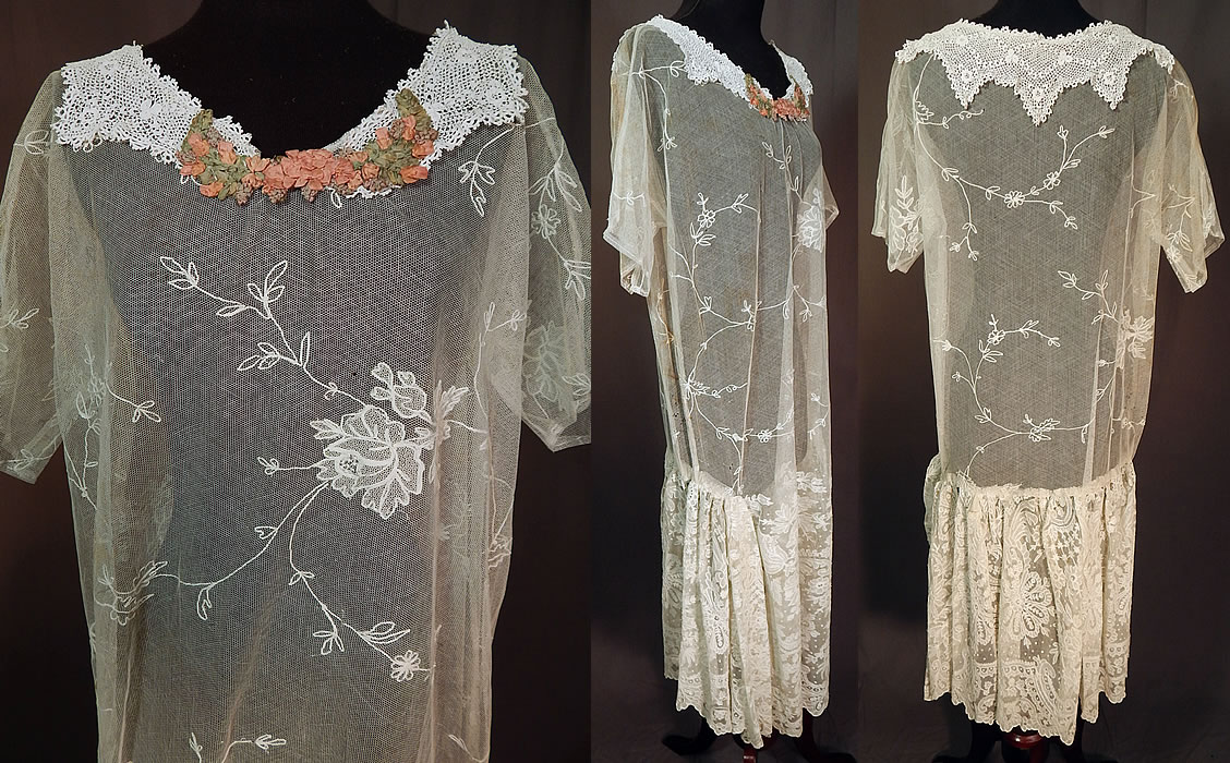 Vintage White Net Tambour Embroidery Lace Collar Rosette Trim Drop Waist Dress