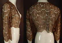 Vintage Art Deco Gold Metallic Lamé Lame Lace Crop Top Bolero Jacket Shrug