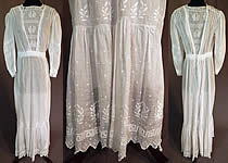 Edwardian White Batiste Embroidered Laurel Greek Key Polka Dot Dress