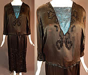 Vintage Art Deco Black Silk Pyramid Beaded Watteau Back Drape Flapper Dress