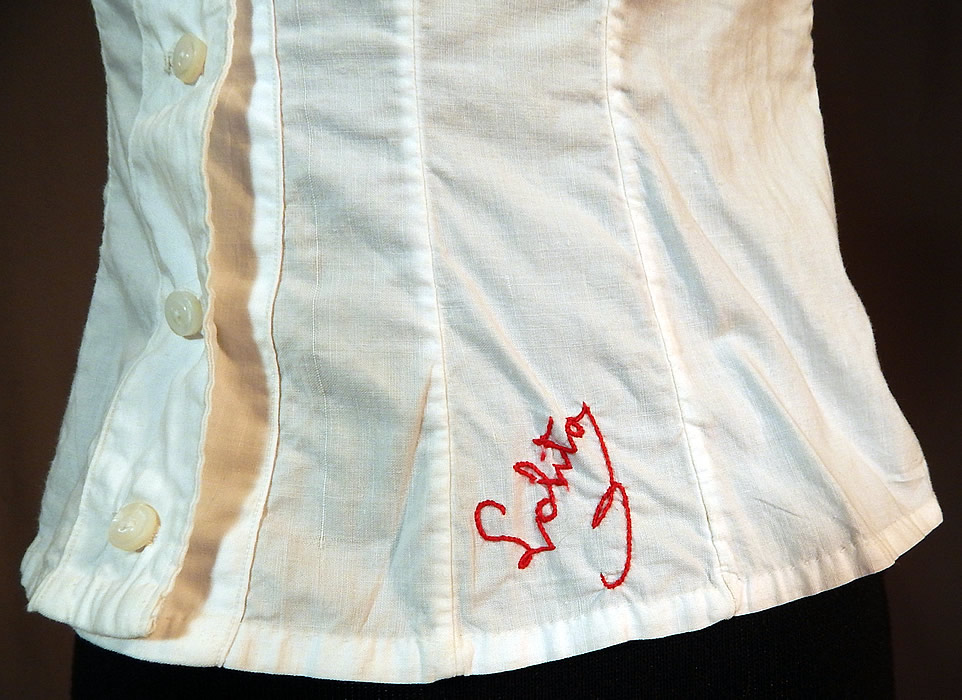 Victorian Lolita Lingerie White Cotton Lace Trim Camisole Corset Cover Top