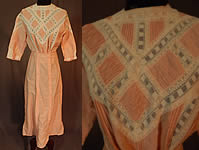 Edwardian Peachy Pink Ruched Cotton White Lace Tea Gown Dress