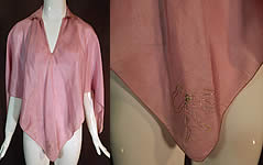 Vintage Lilac Silk Silver Bow Painted Trim Lingerie Boudoir Bed Jacket Poncho Cape