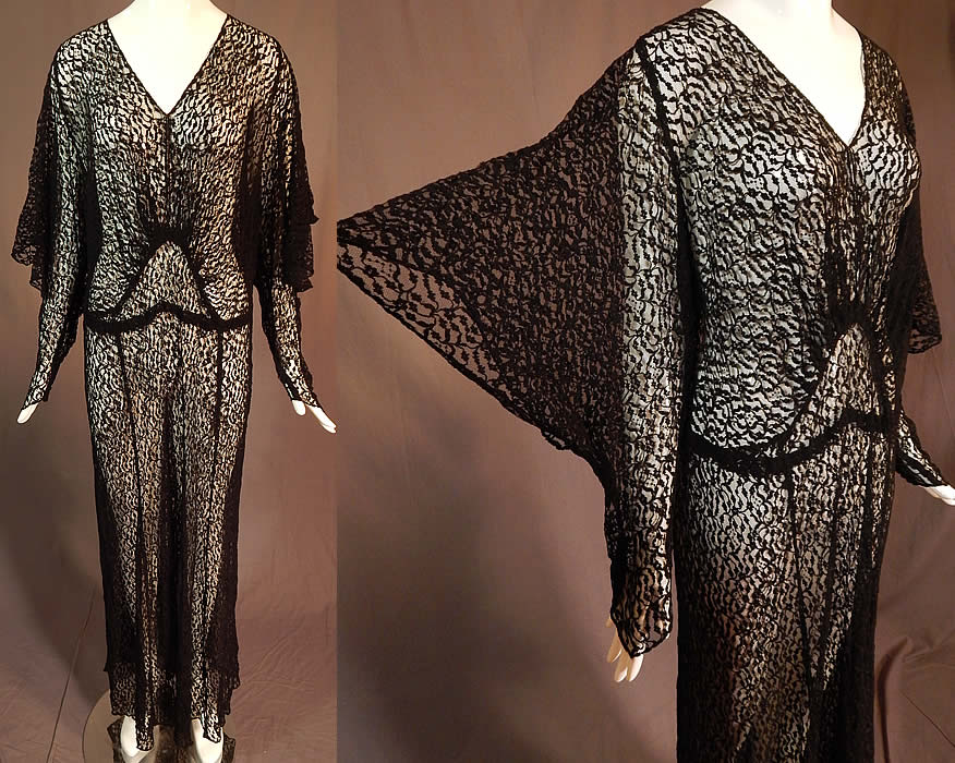 Vintage Art Deco Sheer Black Lace Batwing Bias Cut Evening Gown Gothic Dress