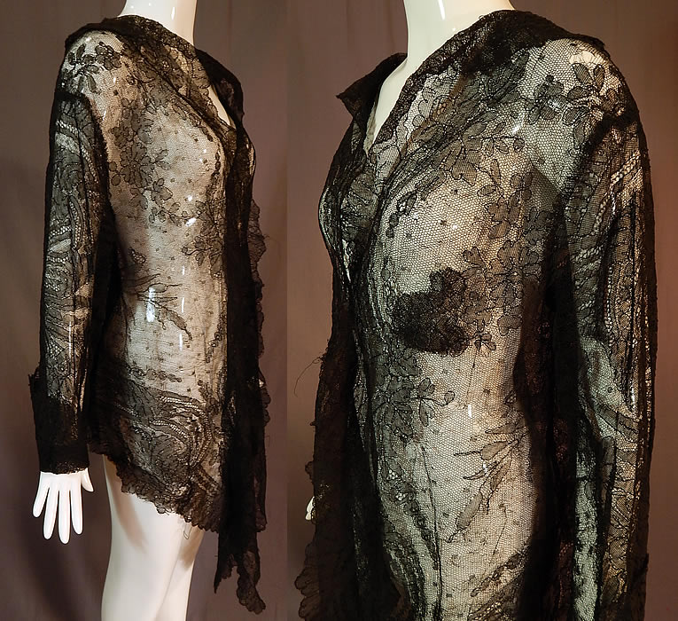 Victorian Antique Black Chantilly Lace Shawl Lappet Tailcoat Jacket
