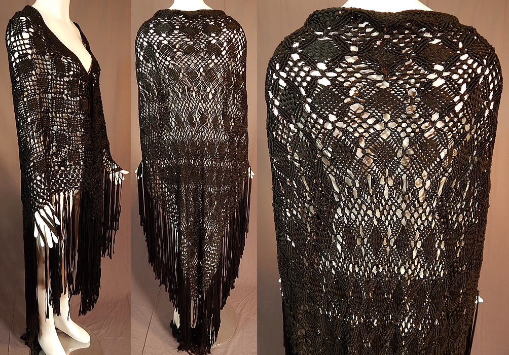 Vintage Black Gothic Silk Ribbon Macrame Crochet Hand Knot Fringe Boho Shawl