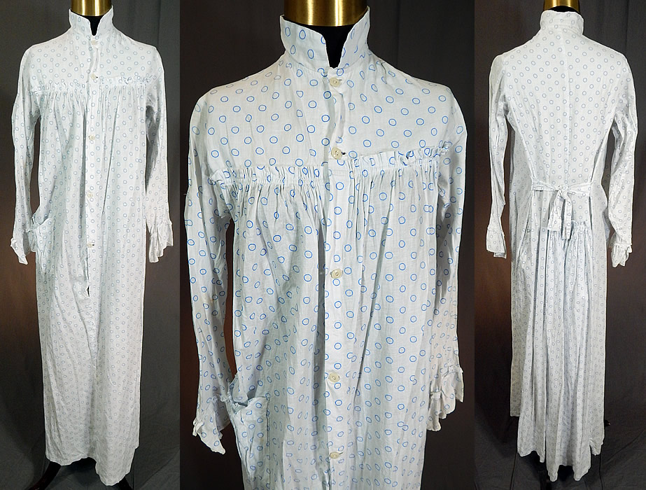 Victorian Blue Polka Dot White Cotton Calico Print Wrapper Bustle Dress Nightgown