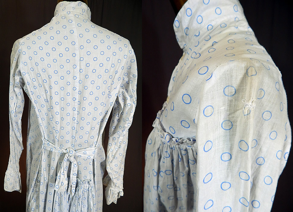 Vintage Victorian Blue Polka Dot White Cotton Calico Wrapper Bustle Dress Nightgown 