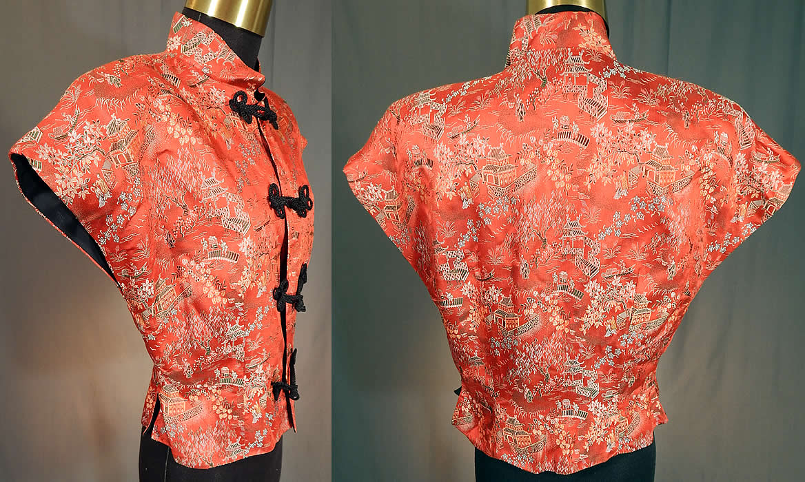 Vintage Original Ina Mae of Hollywood Chinese Red Silk Brocade Blouse Top