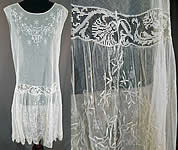 Vintage White Tulle Net Snowflake Embroidered Filet Lace Drop Waist Chemise Dress