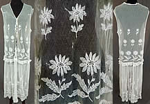 Vintage White Tulle Net Tambour Embroidery Lace Daisy Drop Waist Dress
