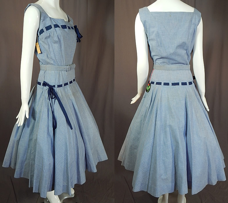 Vintage Henry Rosenfeld Blue White Cotton Check Gingham Belted Circle Skirt Dress NWT