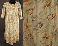 Victorian Girls Art Nouveau Floral Print Cotton Empire Waist Regency Style Dress