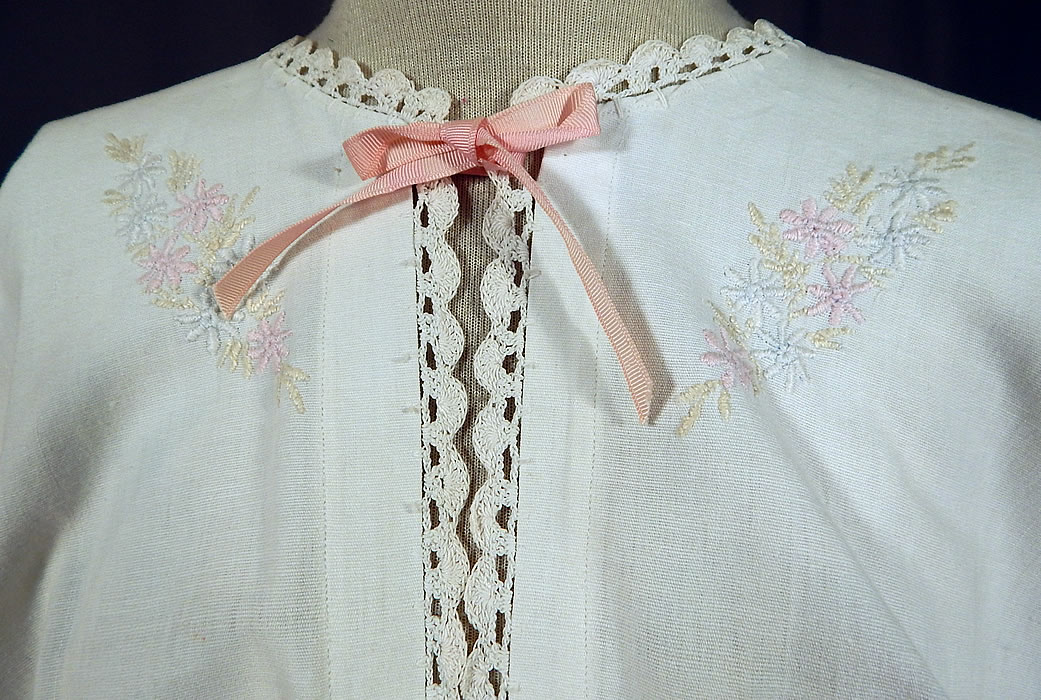 Edwardian White Linen Pastel Embroidered Crochet Lace Combing Bed Jacket