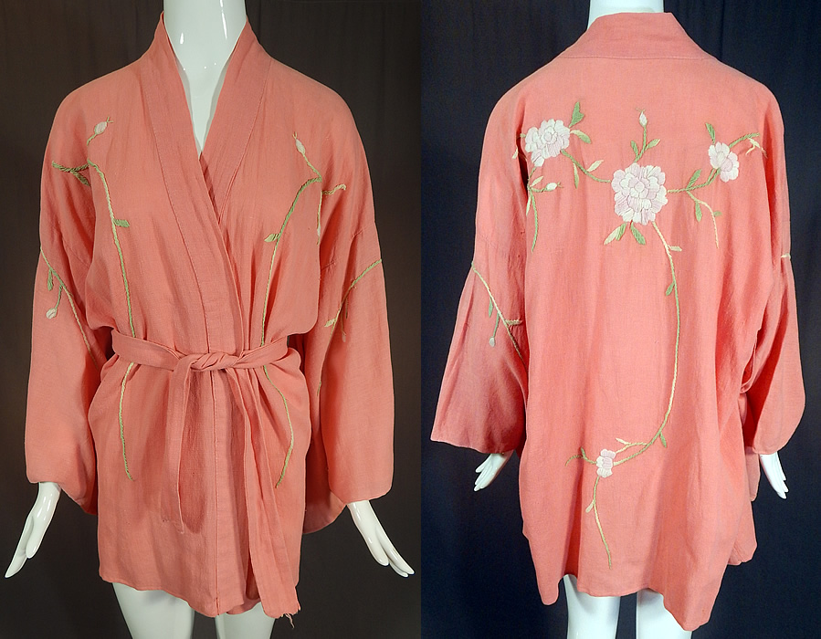 Vintage Japanese Pink Peony Floral Embroidered Muslin Belted Kimono Robe