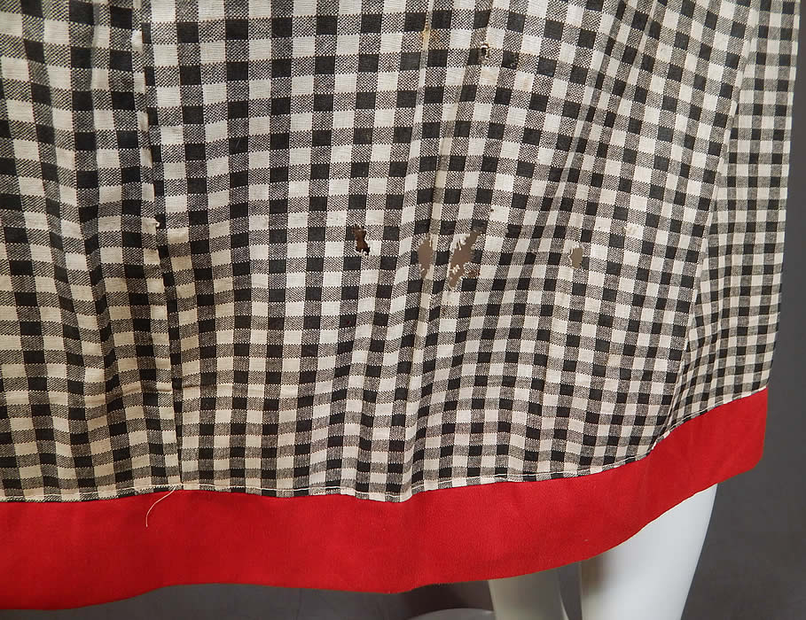 Vintage Edwardian Black & White Cotton Gingham Plaid Red Trim Swimsuit Dress