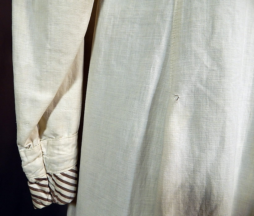 Vintage Linen Striped Sailor Shawl Collar Womens Duster Driving Motoring Coat