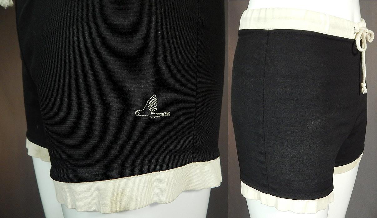 Vintage Catalina Surfers California Sportswear Mens Black White Swim Trunks Shorts
