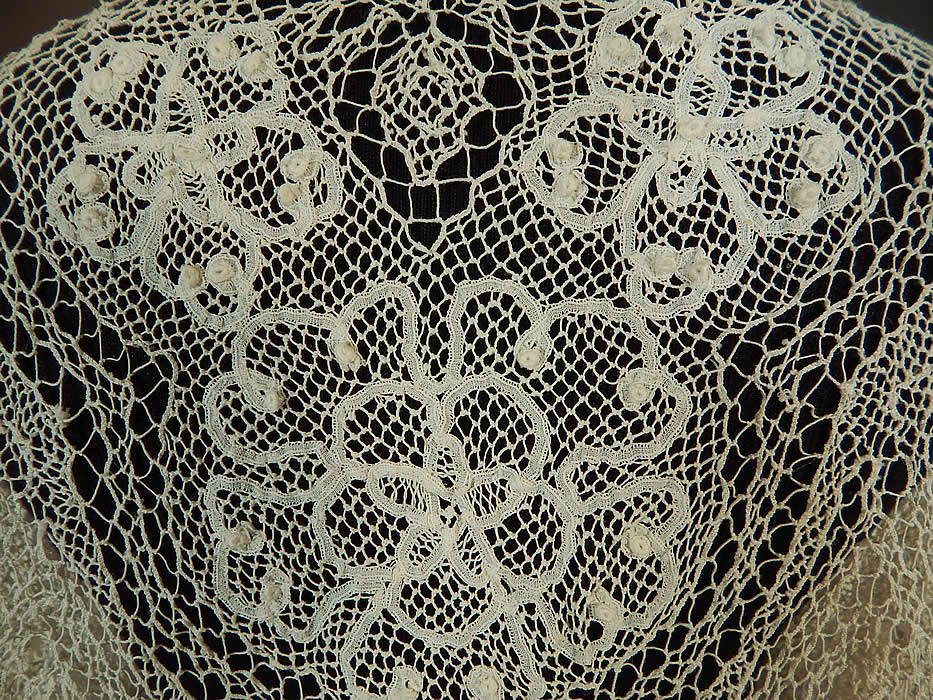 Victorian Handmade Bobbin Tape Lace Net White Bolero Jacket Shrug Top