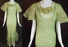 Vintage Mint Green Striped Silk Flower Puff Sleeve Bias Cut Maxi Dress & Slip